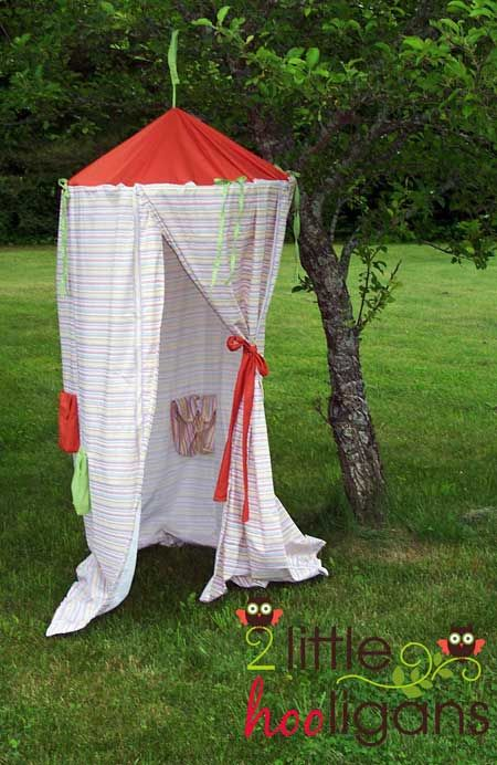 Easy play tent made from a hula hoop and cheap sheets