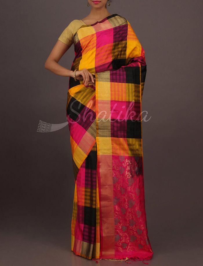 Naina Colorful Bold Checks Ornate Pallu Pure #UppadaSoftSilkSaree