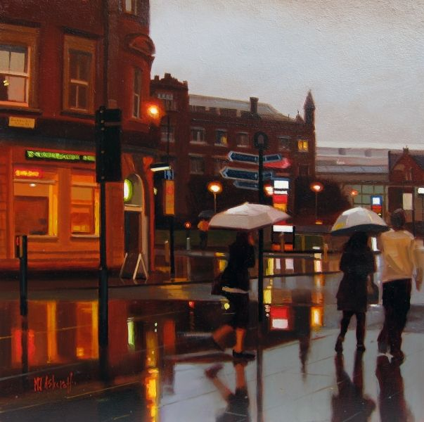 Caught In The Rain [Artzu Art Gallery] Magical oil painting of the Printworks capturing the light and reflections of the rain. You can't love manchester without an umbrella! http://www.artzu.co.uk/artist/michael-john-ashcroft/caught-in-the-rain/