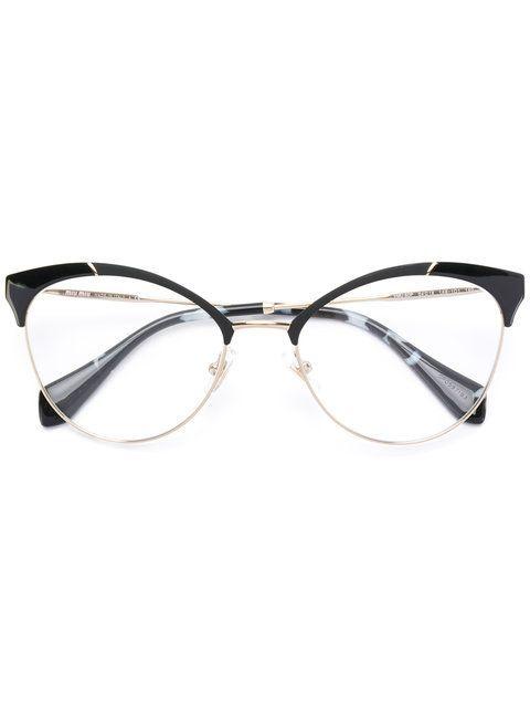 Shop Miu Miu Eyewear half frame cateye glasses Óculos Gatinho, Miu, Óculos,  Bling bb704b17fd