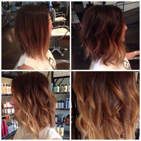 Long A-line bob, razor cut, textured hair, tousled hair, long bangs, long layers, undercut,