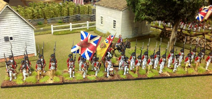 British 44th (Essex) Regiment of Foot: Fife & Drum Miniatures, GMB Designs Flags, and buildings by Herb Gundt.