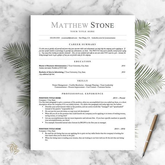 Professional Resume Template for Word, Pages and OpenOffice / Simple - resume xyz