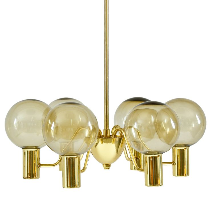 """Hans-Ange Jakobsson chandelier """"Patricia"""" in brass with smoked glass shades."""