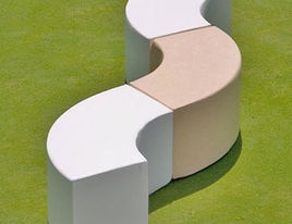 MODULAR CURVE BENCH [38 units) x 350 = USD 13,300].  These benches are arranged into curved lines and circles and will be a unique signature element of the new community center