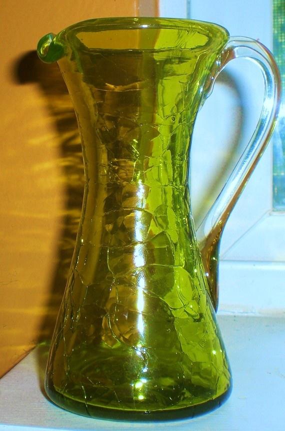 Vaso cristal tallado verde - vintageandchicnet