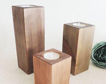 wood candle holder modern home decor tea light holders new home gift