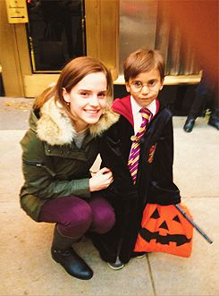 Emma Watson to 5 year old boy: Excuse me, are you Harry Potter? That's great, because I'm Hermione Granger and we're best of friends.