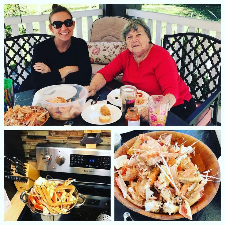 Ate so many crab legs and colossal shrimp with Gramma and Mom today! #beforeandafter #familytime #crablegs #shrimp #lucky #beautifulday