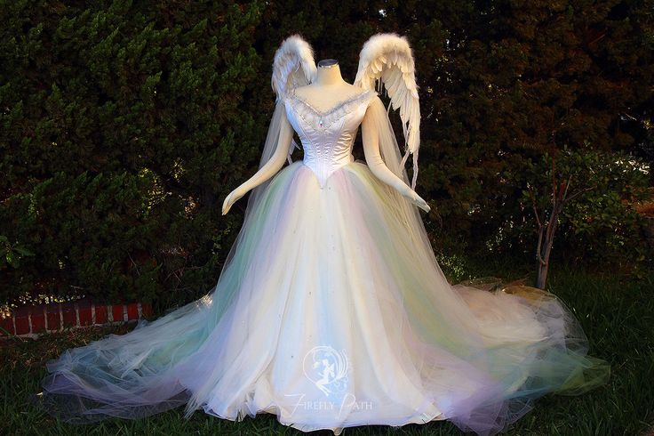 Angelic Rainbow Bridal Gown and Wings by Lillyxandra.deviantart.com on @DeviantArt