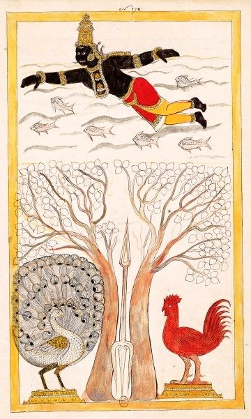 Two registers: above, Shurapadma, who fled, swimming in the sea among the fish; down the tree within which he hid is bisected by the Velam (trident) of Subrahmanya, piercing Shurapadma and turns it into a peacock and a rooster left to right. Karaikal (Tanjore), between 1727 and 1758