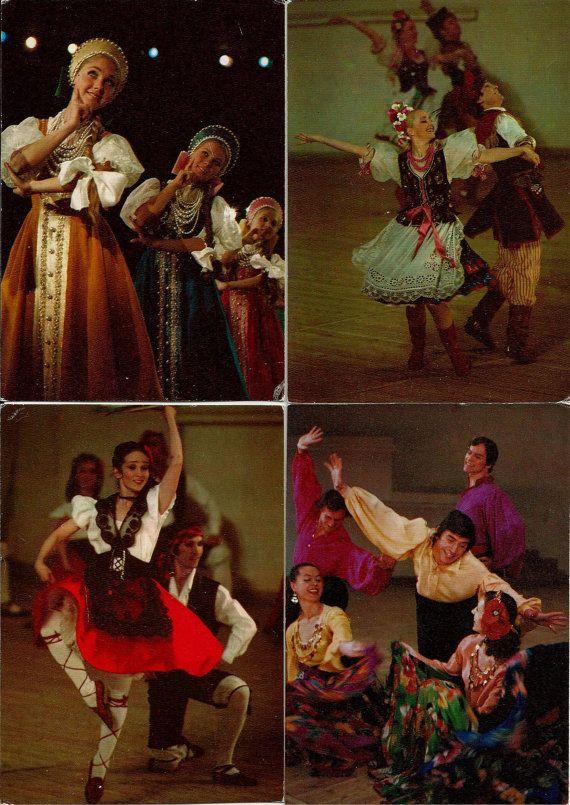 Folk Dance - Vintage Russian USSR Postcards   set of 22 by LucyMarket, $18.00