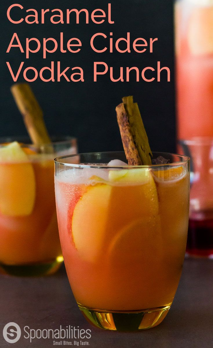 Caramel Apple Cider Vodka Punch cocktail drink recipe. Also called Spiked Caramel Apple Cider. Sweet, fruity, festive alcoholic beverage to celebrate the holidays. Spoonabilities.com