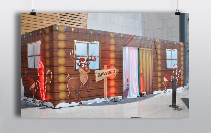 Fun Cartoon Christmas graphic backdrop, ideal for creating a Santa's grotto in an open space. http://www.prophouse.ie/portfolio/christmas-background-wrap/