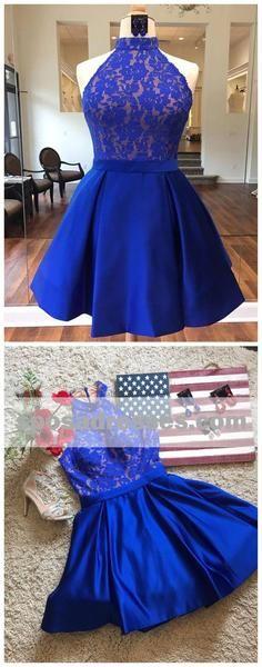 Royal Blue Halter Cheap Short Homecoming Dresses Online, CM530