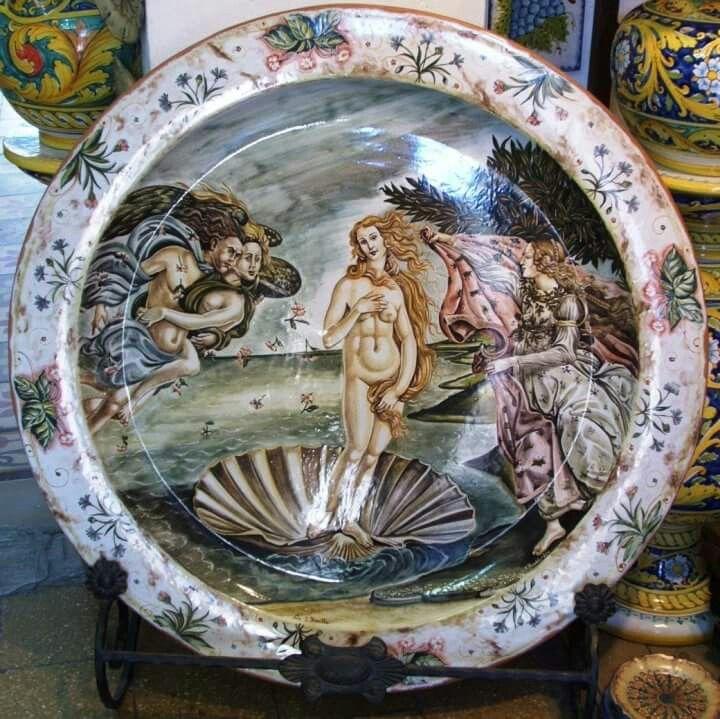 Piatto in ceramica cm 100,decorazione a mano versione dopo la cottura.