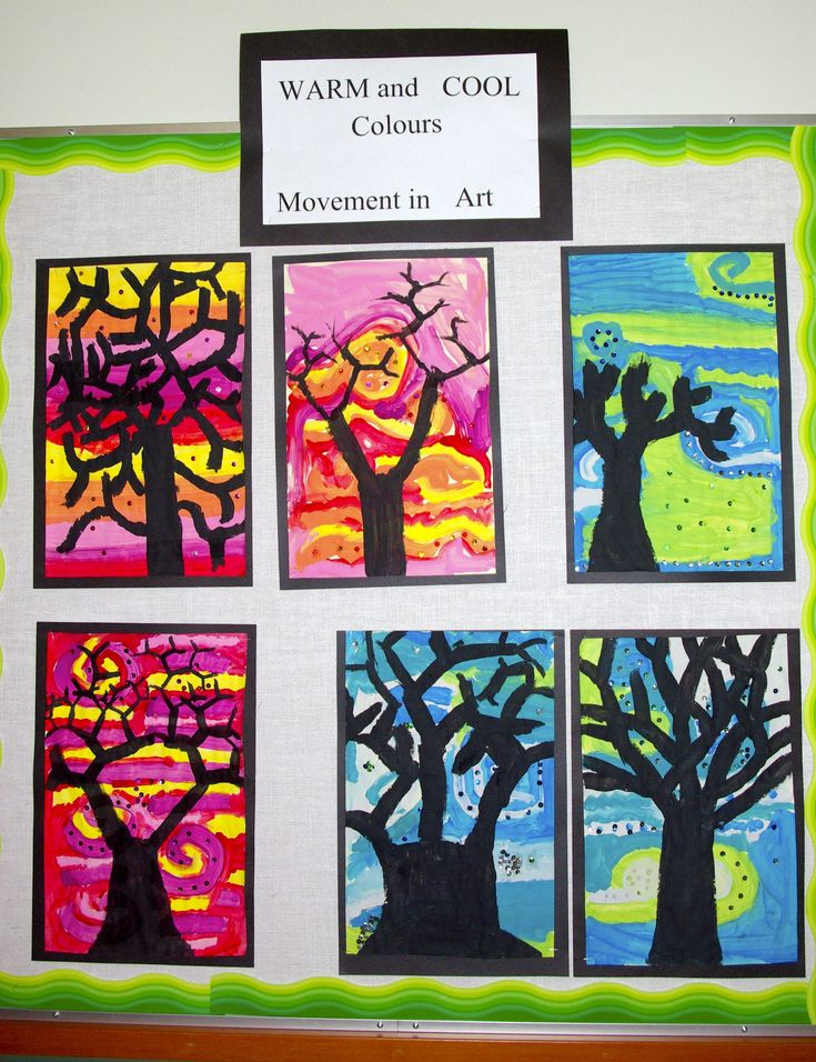 Grade 3- Warm and cool colours and movement in art.