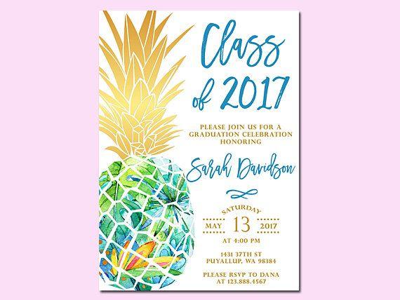Pineapple Graduation Invitation, Graduation Open House Party, High School Graduation, College Graduation, Grad Announcement