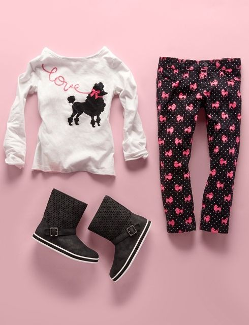 Toddler girls' fashion | Kids' clothes | Back to school | Embellished top | Poodle print jeggings | Boots | The Children's Place