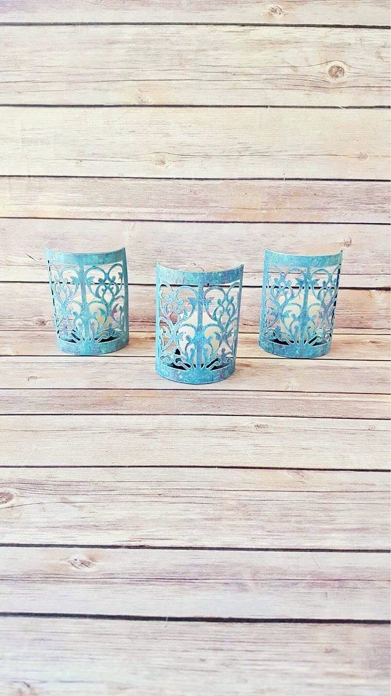 $45 Rustic Candle Holders | Turquoise Candle Holders | Farmhouse Home Decor | Rustic Wedding Decor | Vintage Chic Candle Holders by CraftyMcDaniel on Etsy https://www.etsy.com/listing/533076510/rustic-candle-holders-turquoise-candle