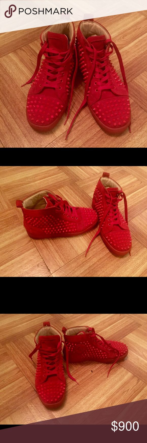 Christian Louboutin Red Studded Sneakers 36 US 6 Worn a couple of times (2,3) therefore they are in excellent condition. Red studded sneakers for women in size 36. Christian Louboutin Shoes Sneakers