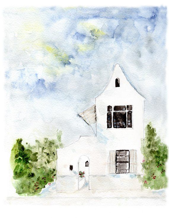 Watercolor Art Alys Beach House Art Print 30a Florida Coastal