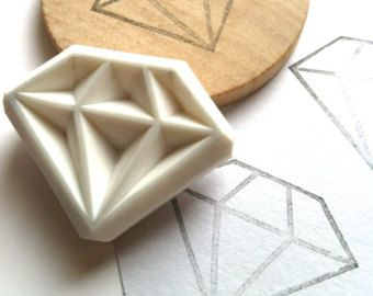 diamond rubber stamp. gemstone hand carved rubber stamp. diy wedding/birthday. gift wrapping/craft projects. mounted. large
