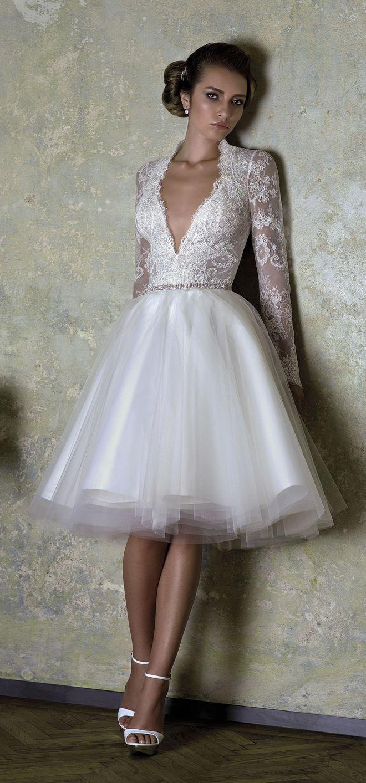 2015 vintage short lace beach wedding dress, rehearsal dinner dress #weddingdress