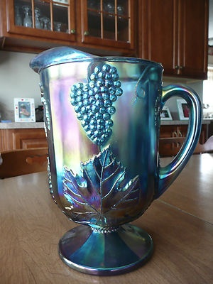 Vintage Indiana Blue Carnival Glass Pitcher Grape Harvest