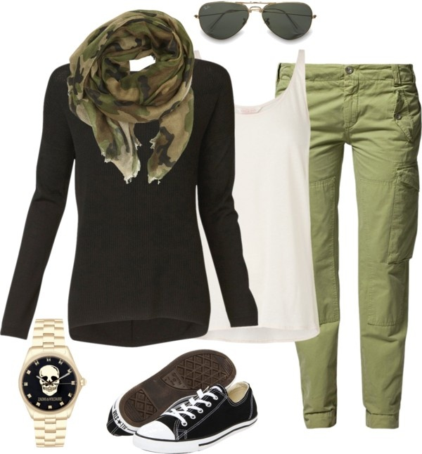 """Camo scarf and cargos"" by lesnesman on Polyvore"