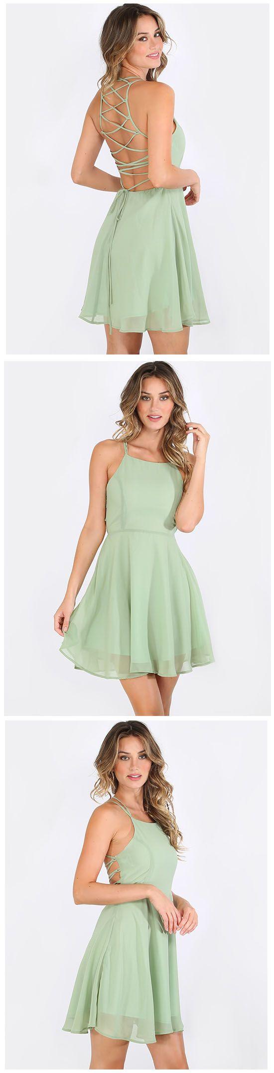 Green Sleeveless Crisscross Lace Up Back Dress
