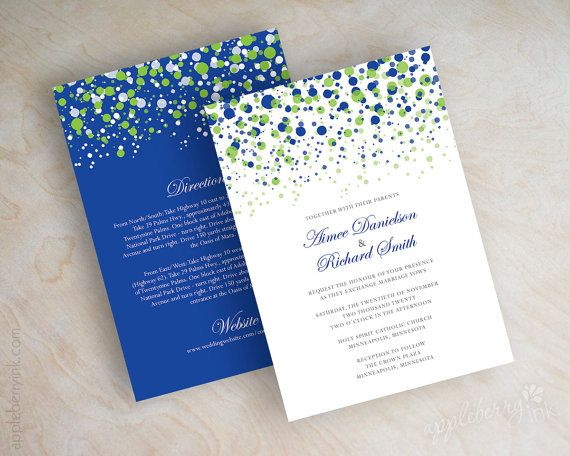 Lime green and royal blue wedding invitations by appleberryink