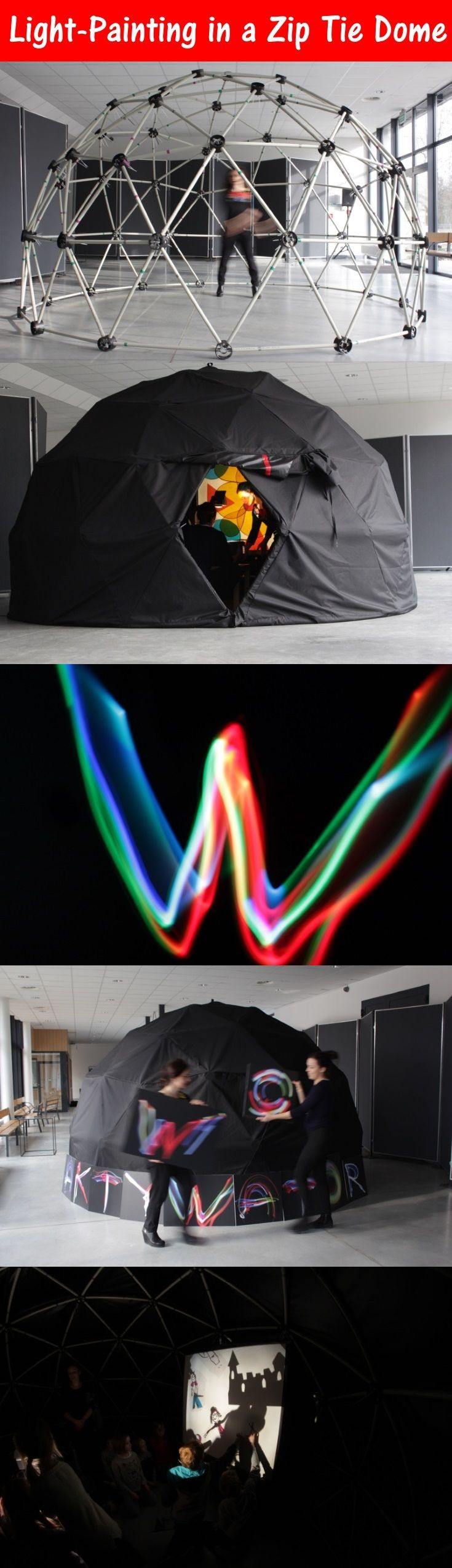 Using a Zip Tie Dome as a darkroom for light-painting for children. Light-painting is by moving a light in front of a long exposure camera for artistic effect.