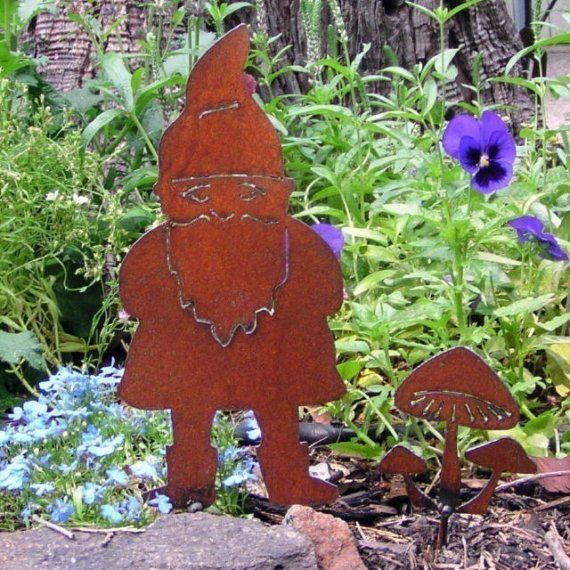 Rusty Garden Gnome and Mushrooms Garden Art Stake by MountainIron, $21.99