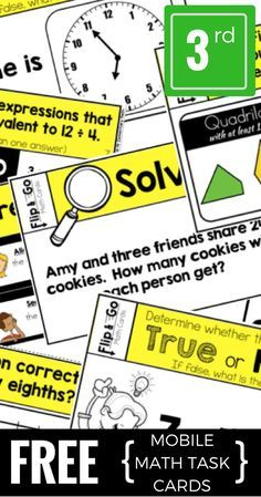 Download these FREE math task cards for 3rd grade. This sample pack contains a variety of questions types aligned with the third grade common core math standards. They can be used for morning work, early finishers, math centers, formative assessment and so much MORE!