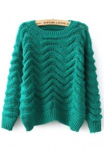 Green Plain Hollow-out Pullover