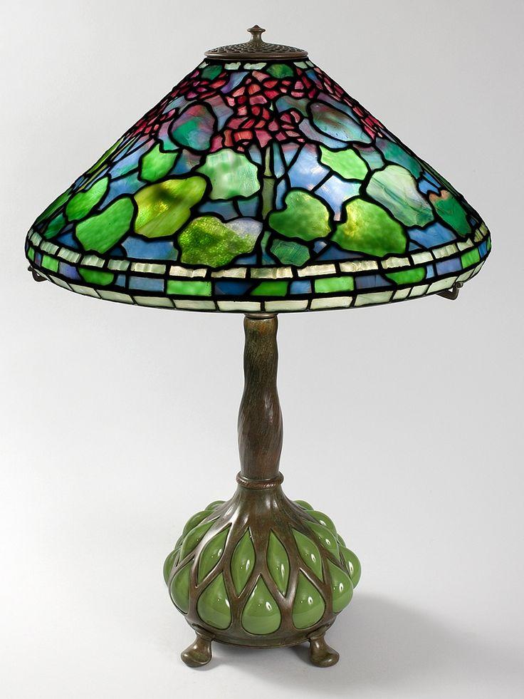 "Tiffany Lamp - ""Geranium"" Leaded Glass"