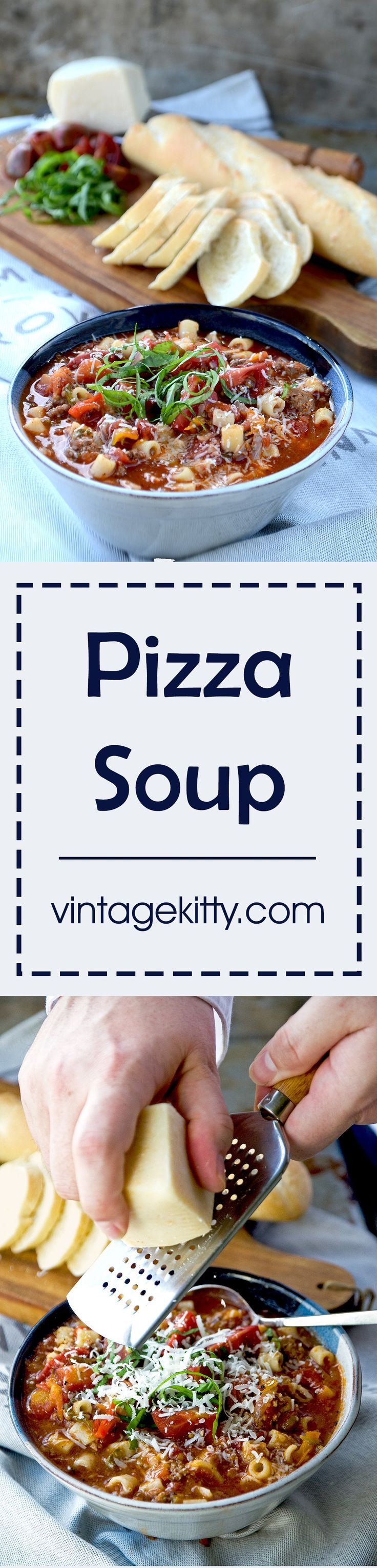 Pizza Soup is a hearty, robust tomato soup filled with Italian flavors and ingredients. It's supremely delicious and can be served as an appetizer or as an entree with a side salad or grilled cheese sandwich.   vintagekitty.com