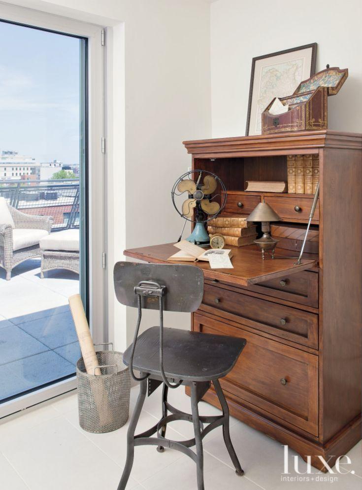 Transitional Neutral Den Antique Secretary DesksInterior Design MagazineDesign InteriorsOffice IdeasVictorian Front DoorsFarmhouse FurnitureHomesVictorian