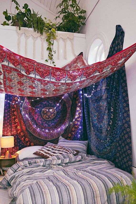 Indian Tapestries Hippy wall hanging Mandala by plushdecor on Etsy