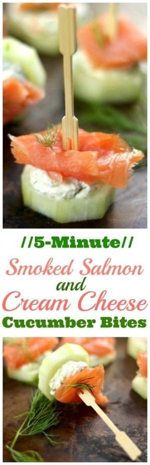 Smoked Salmon and Cream Cheese Cucumber Bites - these cute little bites are SO easy to make and will FLY off the table! by Cathi-d
