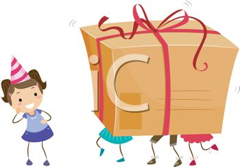 Illustration of Kids Carrying a Large Gift Box