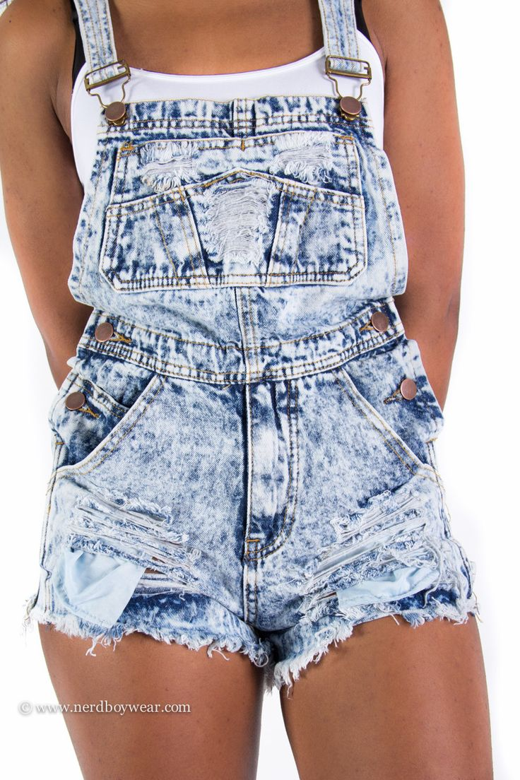 "Acid Wash Jean Shorts | Acid Wash Destroyed Denim Overall Shorts ""Shortall"" with Pockets ..."