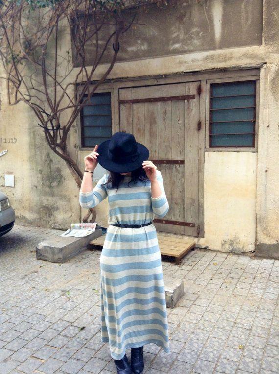 Striped maxi dress spring dress Tee shirt dress by Julbyjuliagasin, $80.00