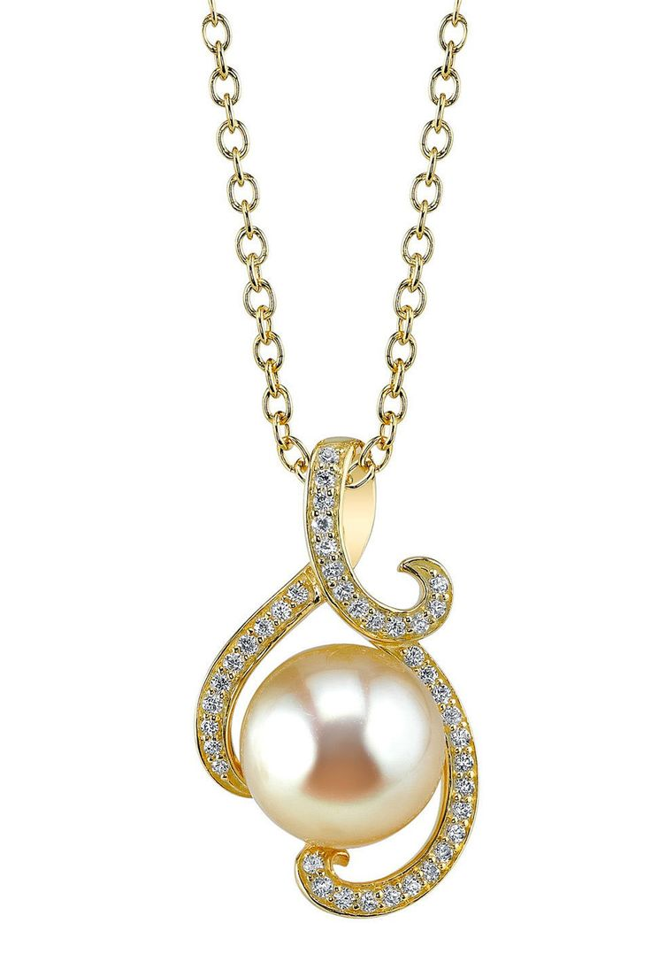 A beautiful11mm golden South Sea pearl pendant
