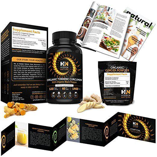 Organic Turmeric Curcumin Capsules 1460 mg| Best Pain Relief & Joint Support Black Pepper Organic Turmeric Supplement Pills with Curcuminoids & Ginger Powder Bundle| 120 Anti-inflammatory Tablets