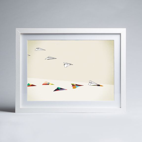 Jason Ratliff - Walking Shadow - Paper Planes - Framed print