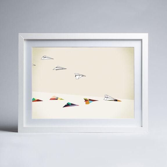 Jason Ratliff - Walking Shadow - Paper Planes - Framed print