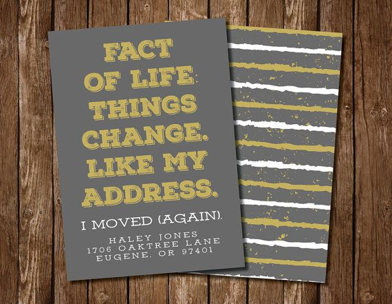 Gray & Gold New Address Announcement by FeatherflyDesign on Etsy