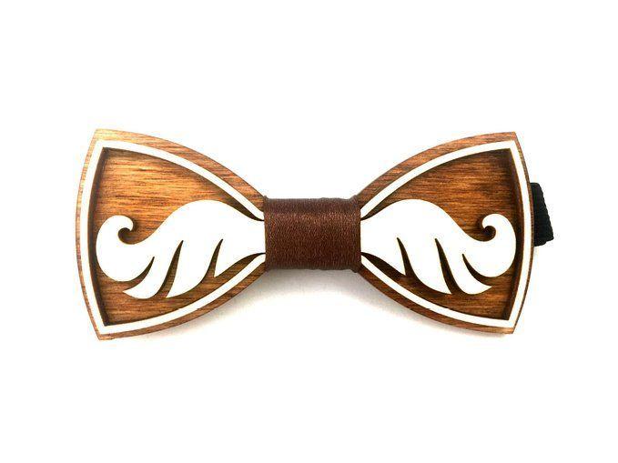 "Fashion Exclusive Wooden Bow Tie ""MUSTACHE"", Handmade"